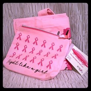Fight Like A Girl Tote & Makeup Bag Set